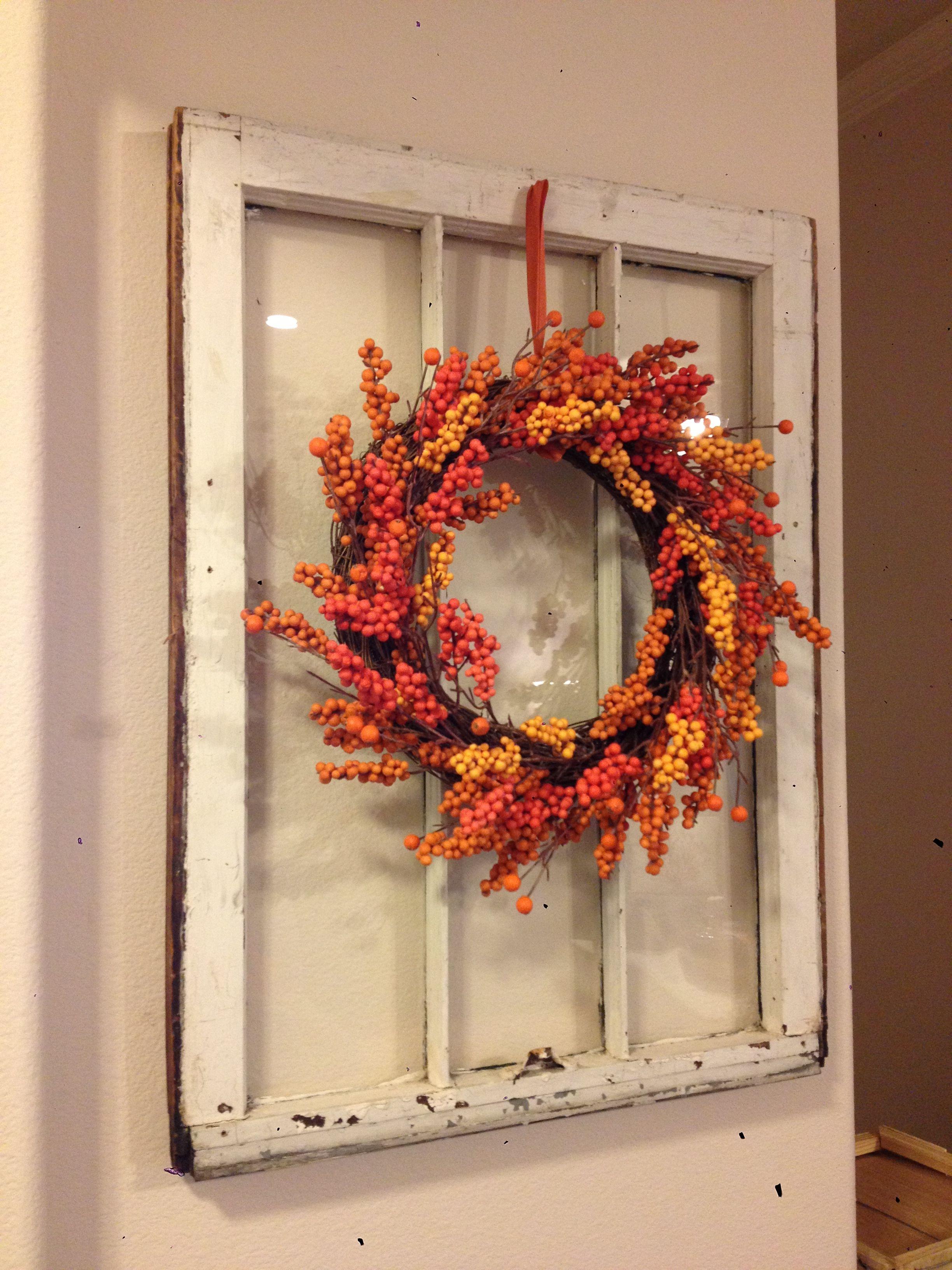 Window frame decor with wreath  wreath in an old window  diy  pinterest  wreaths and window