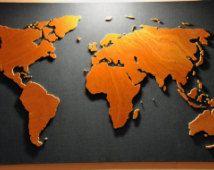 Handgemaakte houten wereldkaart