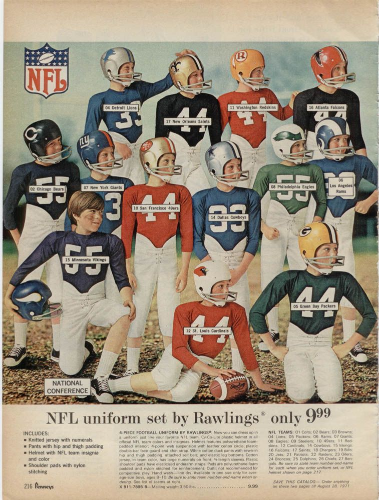 early 70 s boys nfl uniforms 1970 jc penney christmas catalog