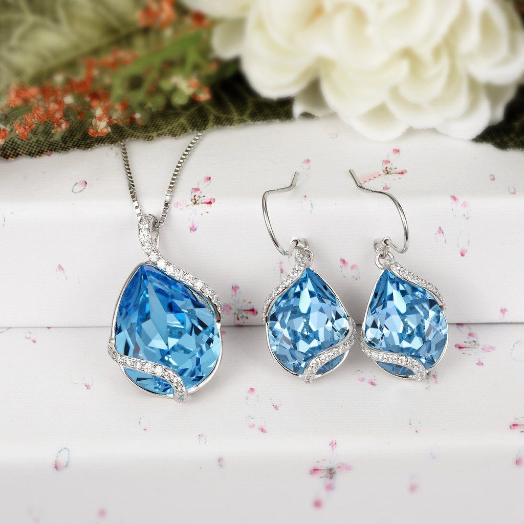 29dcbbb55 EVER FAITH 925 Sterling Silver CZ Twist Teardrop Adjustable Pendant Necklace  Earrings Set Aquamarine Color Adorned with Swarovski crystals -- Click  image to ...