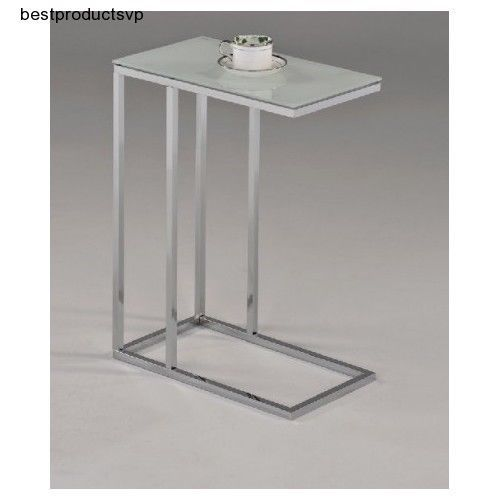 Ebay Sofa Side End Table Modern Chrome Glass Metal White Smoked Snack Slide Under New Unbr Sofa Snack Table Modern Sofa Table Modern Side Table