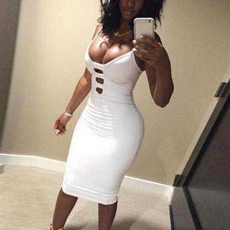 deep v bodycon hollow out dress  white bodycon dress