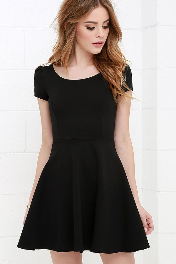 37c4817a212c Winning Look Black Skater Dress at Lulus.com!
