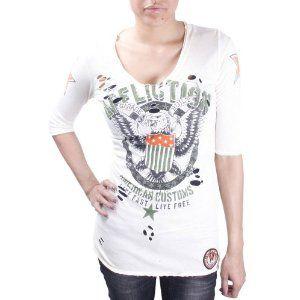 AFFLICTION Live Fast 3/4 Sleeve V Neck Womens Shirt (Apparel)