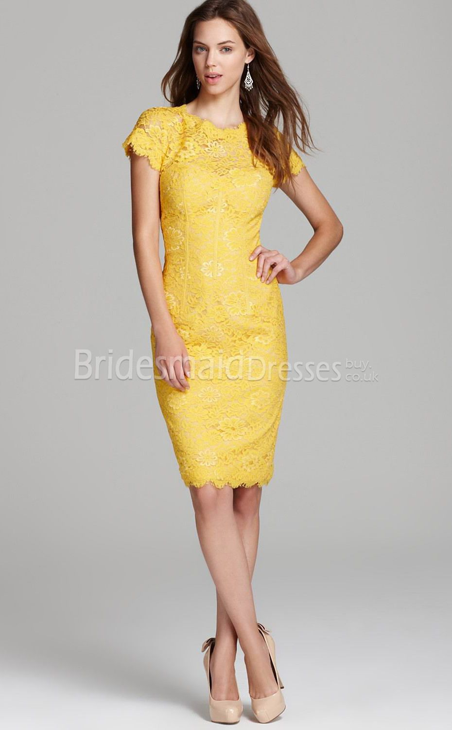 Lace yellow dress with sleeves recommend to wear in everyday in 2019
