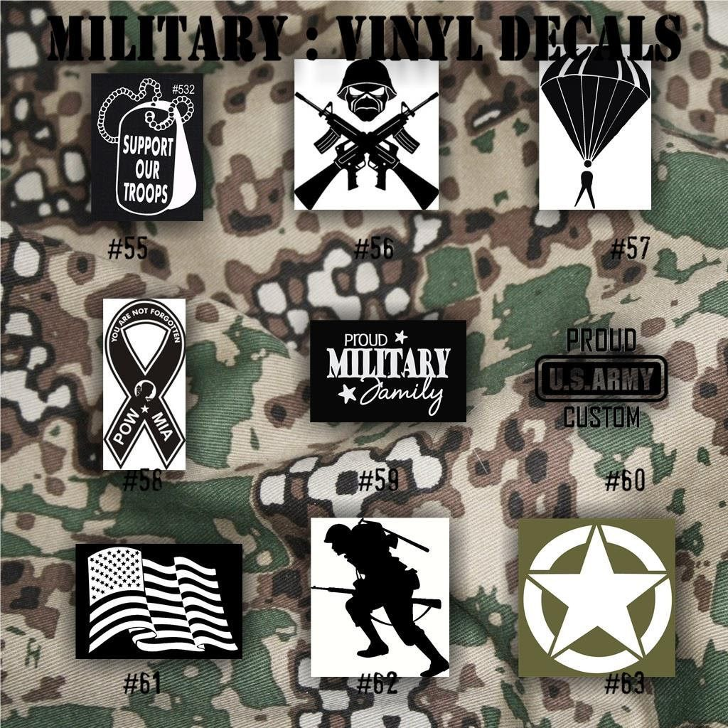 MILITARY vinyl decals 5563 Army, Air Force, Navy and