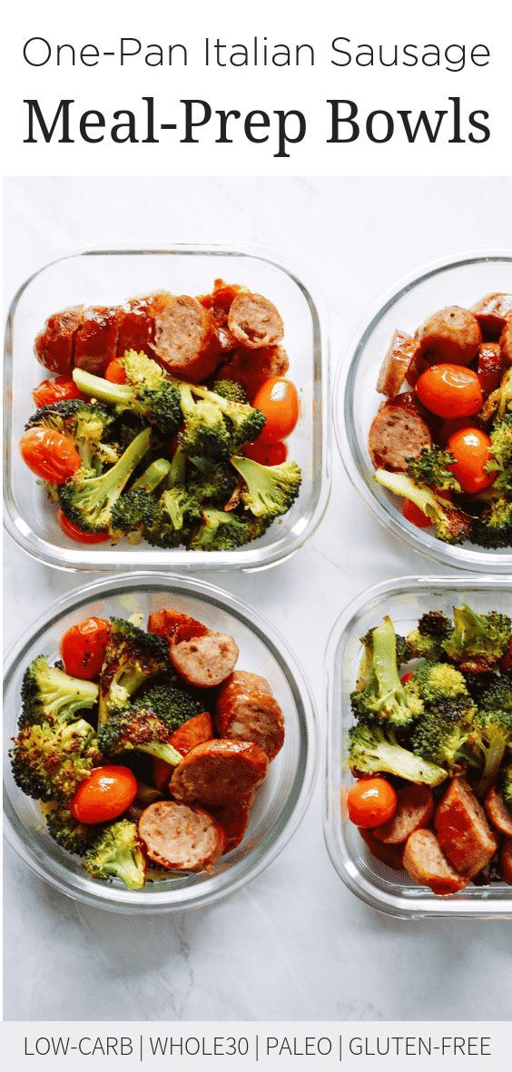 One-Pan Italian Sausage Meal-Prep Bowls images