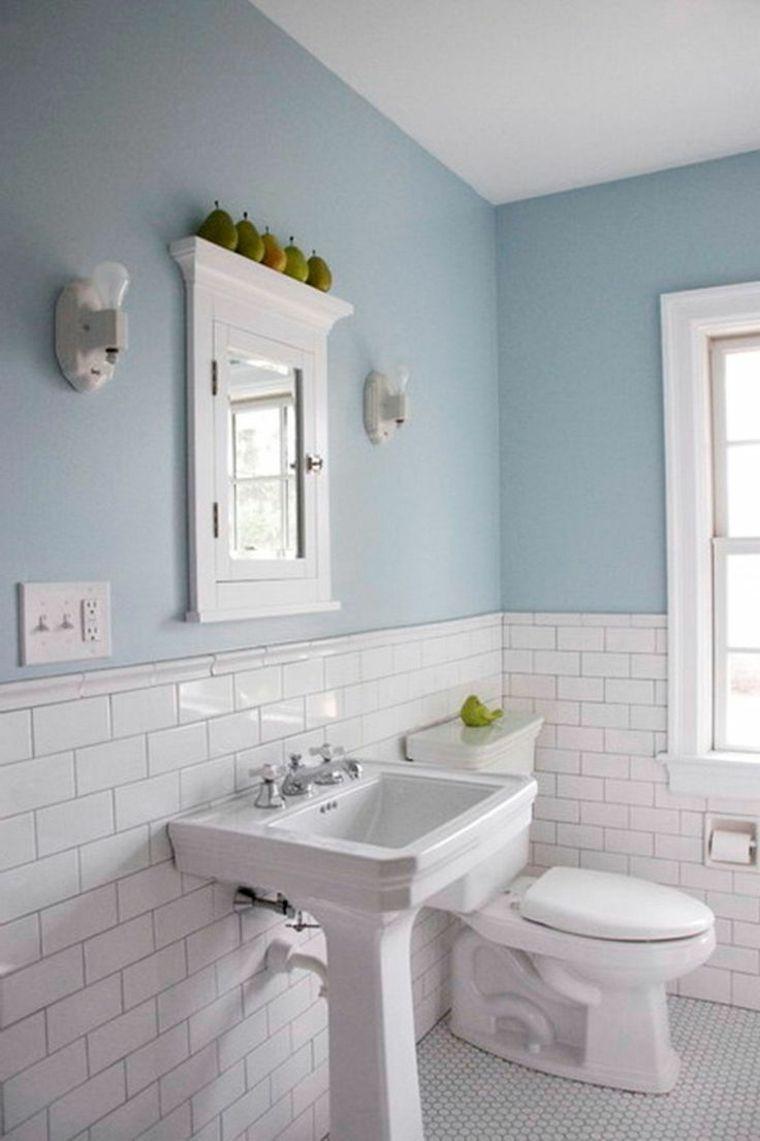 Azulejos Blancos De Estilo Metro En Banos Y Cocinas Decoracion De Bano Elegante Color Para Banos Banos Pintados Azulejos