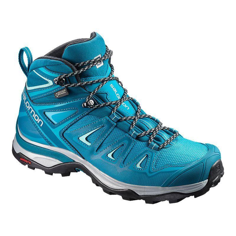 Salomon Women S X Ultra 3 Mid Gtx Hiking Boots Lagoon Blue Hiking Boots Fashion Hiking Boots Women Salomon Shoes