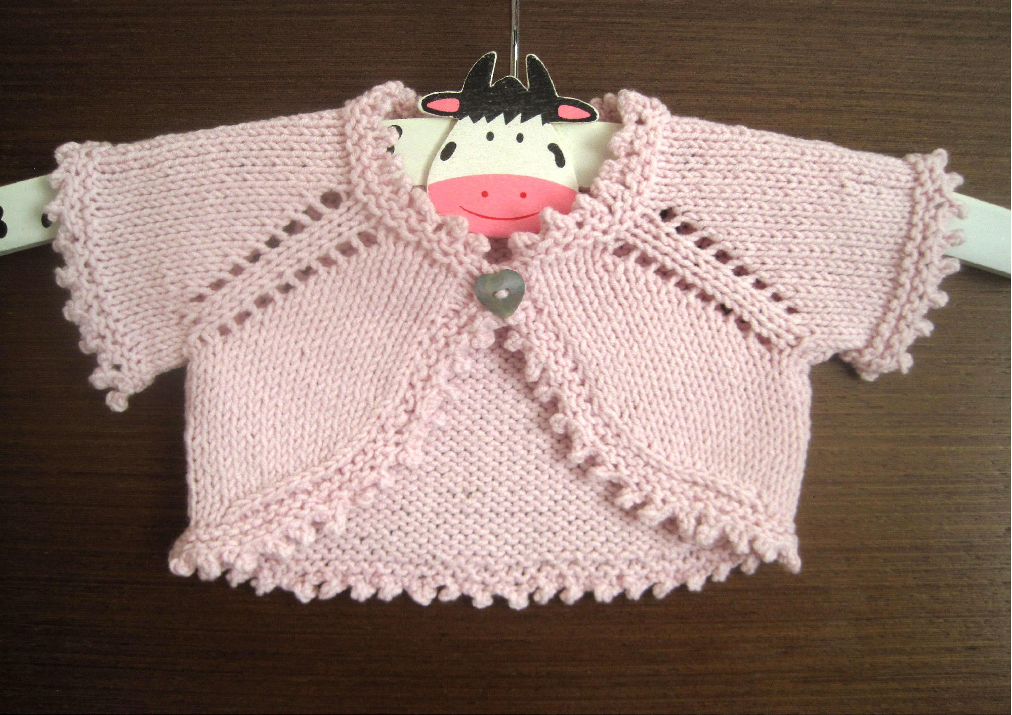 baby newborn girls bolero knitting pattern DK seamless one ...
