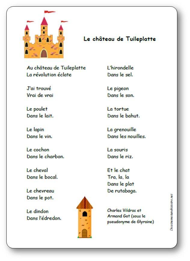 Poesie Le Chateau De Tuileplatte De Charles Vildrac Et Armand Got Chateau Comptine Maternelle Comptine Souris