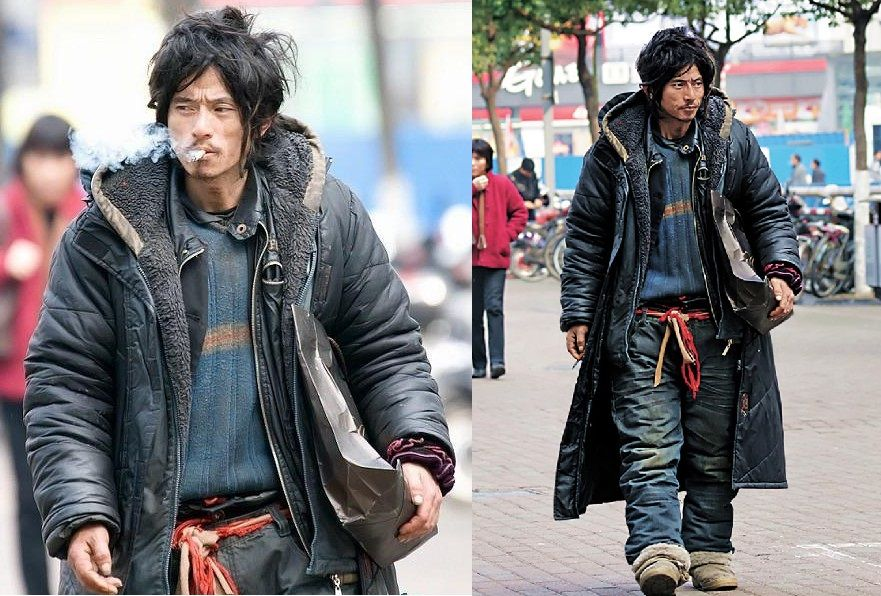 This Homeless Guy From China Looks Badass Chinese Fashion Street Fashion Homeless Man