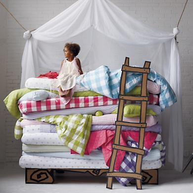 Kids' Bedding: Kids Blue Stripe Cotton Bedding in Sheet Sets