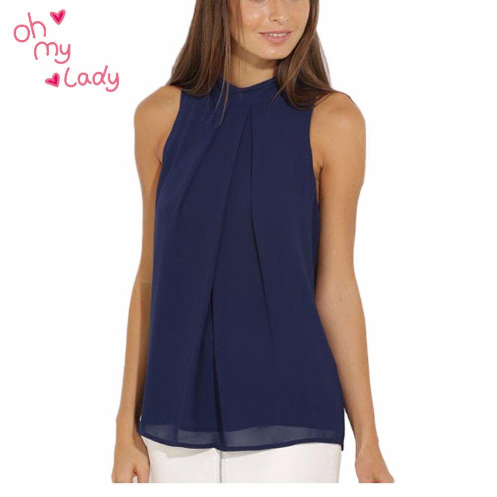 Summer Ruffles Fashion Blouses Tops Sleeveless O-neck Casual Women ...