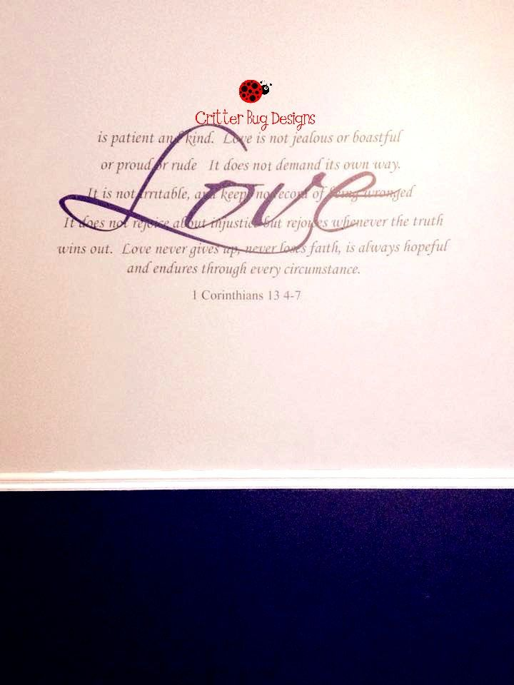 Love Wall Decal 1 Corinthians 13 4 7 Bedroom Wall Sticker Love Is Patient Bible Verse Vinyl Wall Art Couples Wall Stickers Bedroom Vinyl Wall Art Love Wall