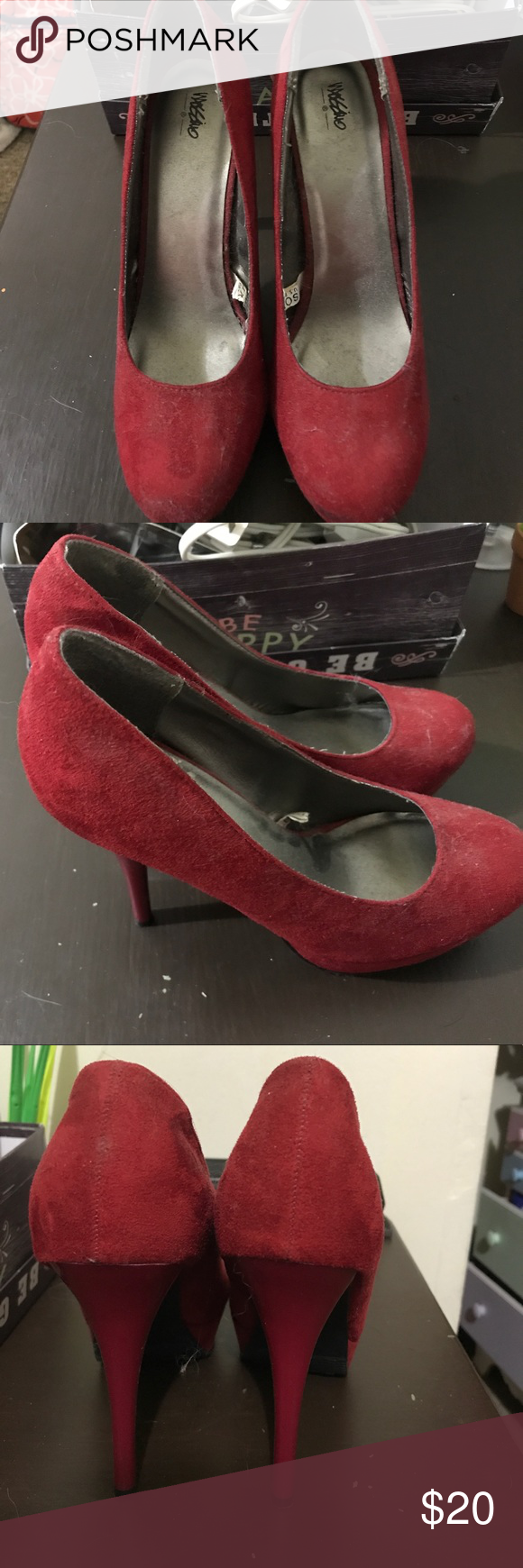 "5"" suede red Mossimo heels. 5"" suede red Mossimo stilettos, platform toe, rarely worn. Mossimo Supply Co. Shoes Heels"