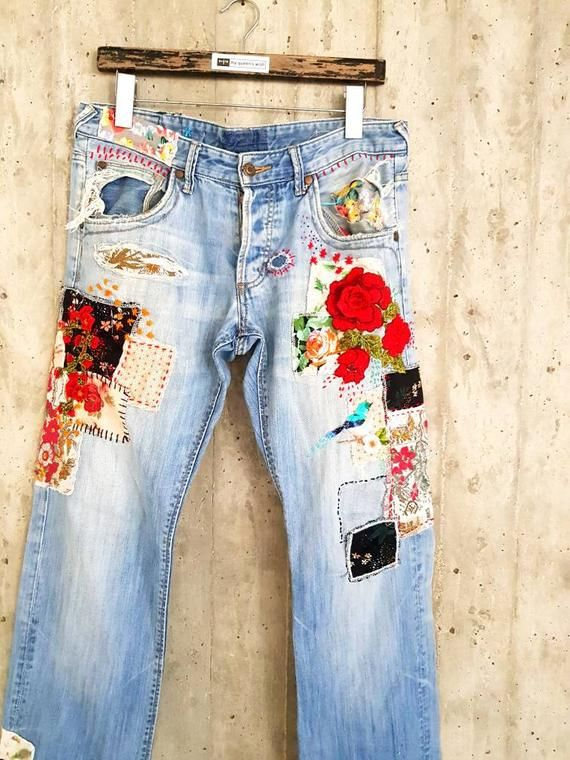 Photo of Patched Denim / Patched Jeans / Reworked Vintage Jeans with Patches /  vintage brand jeans/painted denim/redone jeans /boyfriend jeans/