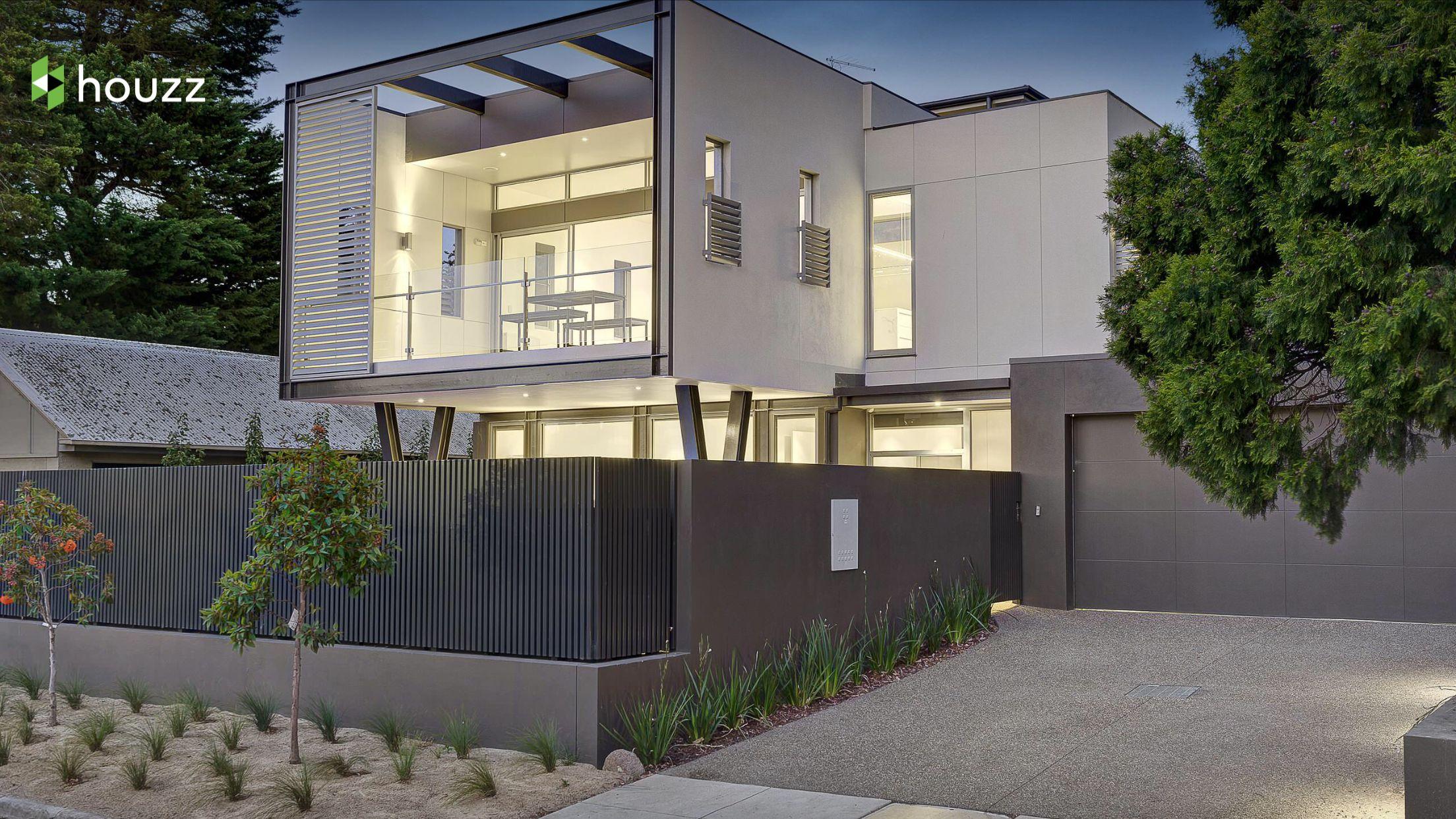 Gartenhaus, Vorgarten Zaun, Vorgärten, Aluminium Zaun, Zaun Design,  Außenfarben, Außengestaltung, Australische Häuser