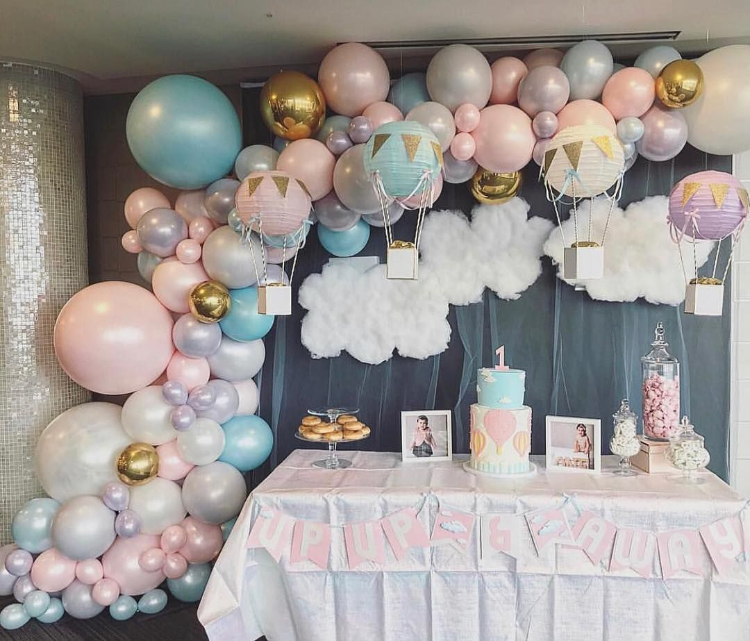 "For The ❤️of Parties on Instagram: ""Pretty pastel hot air balloon theme! 💕😍 BY: @balloonsbydina #hotairballoonparty #upupandaway #birthdayparty #pastelcolors #party #balloon…"""