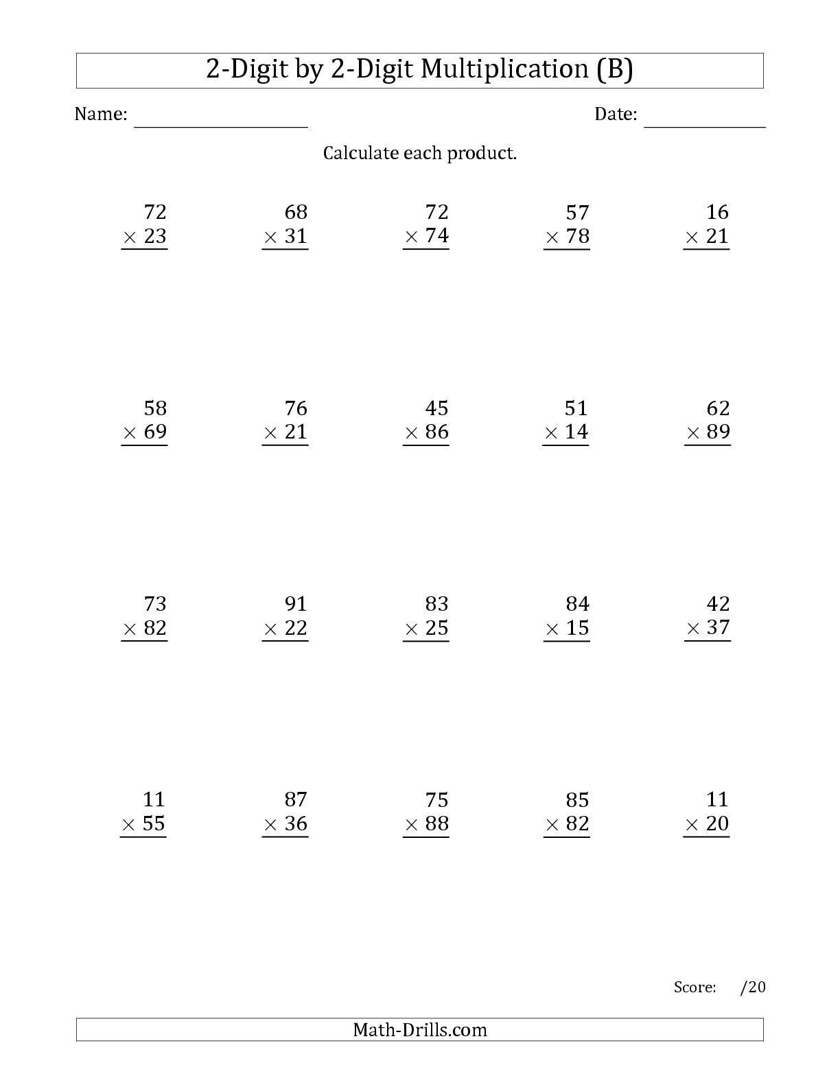 Worksheets 2 Multiplication  Sums the multiplying 2 digit by numbers b math worksheet from from