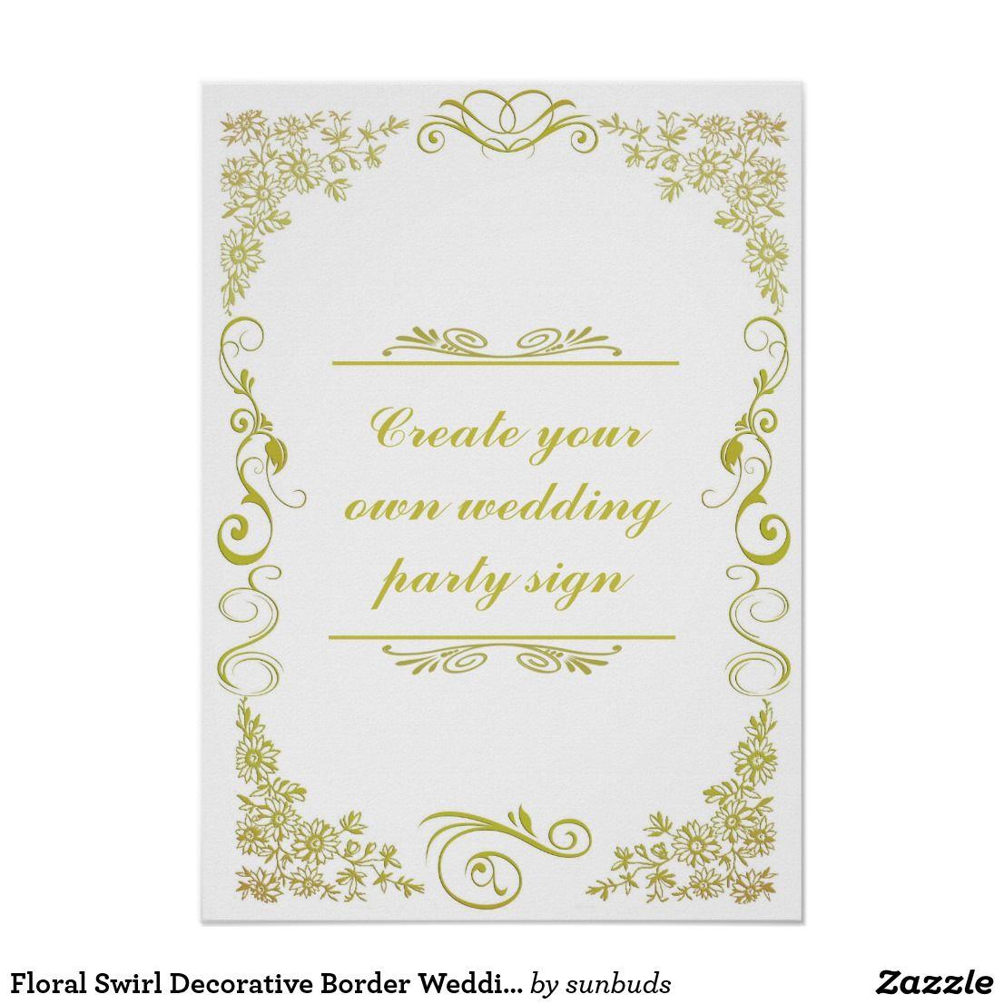 Floral Swirl Decorative Border Wedding Party Sign Zazzle