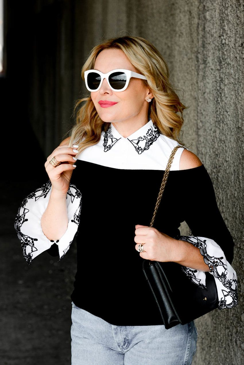 a5ab0da4848 Zia Domic of the blog Hunter Collector wearing our Cecile top