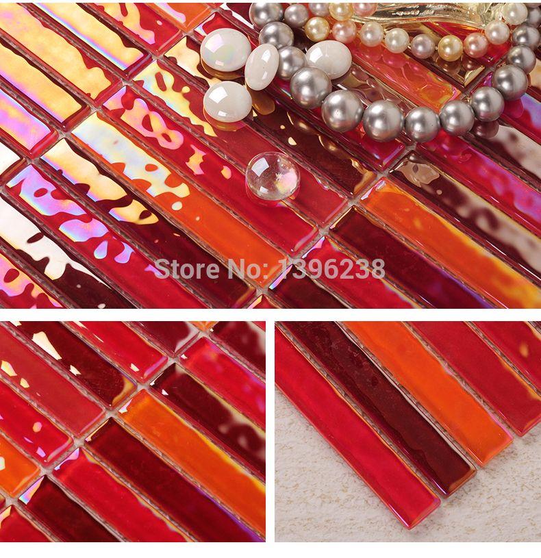 Hochwertig LSCTH02, Streifen Rot Glasmosaik Fliesen, Bunte Küche Backsplash Glasmosaik(China  (Mainland)