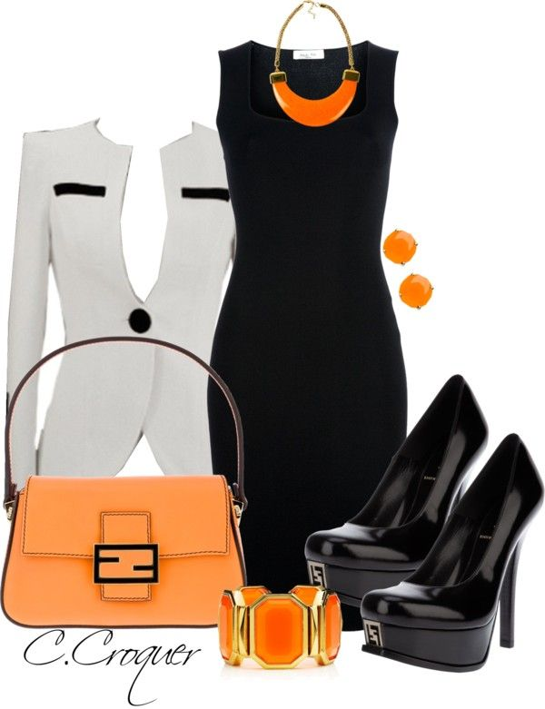 """""""Orange Fendi"""" by ccroquer on Polyvore now THIS. THIS I could do. @Moriah Ingle Ingle Ingle Ingle Ingle Hughes"""