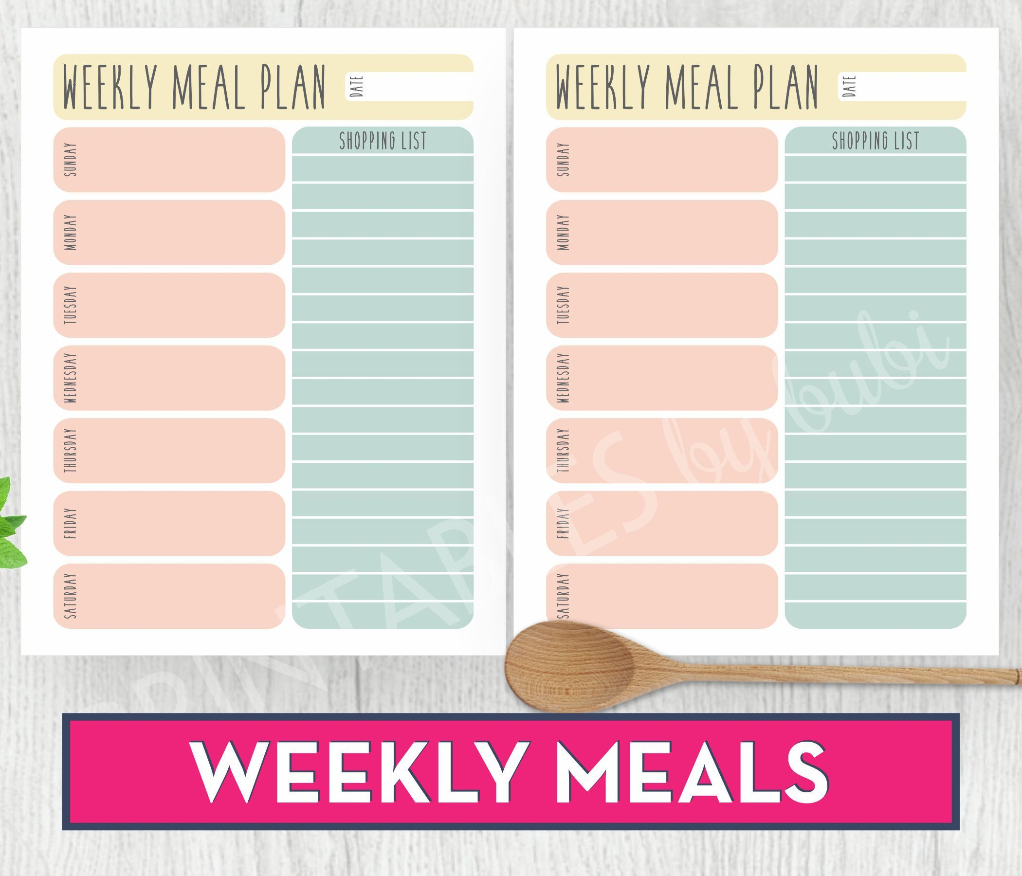 Meal Planner Grocery List Printable Shopping List
