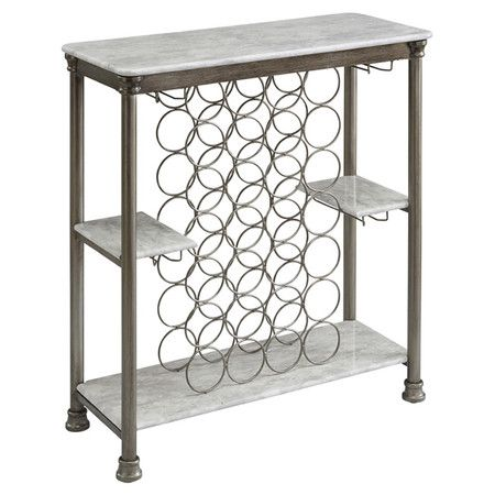 This Metal Wine Rack Table With Faux Marble Top Can Be Used To 28