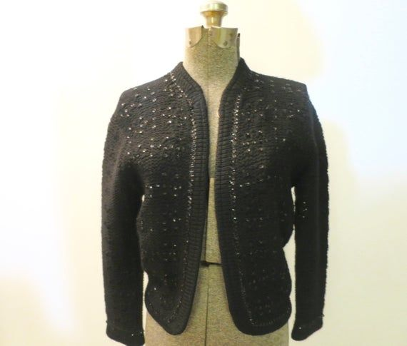 Black Wool Lacy Knit Cardigan Holiday Party Wool Shrug Sweater Black Sequin Accents Front Sleeve Edg #shrugsweater