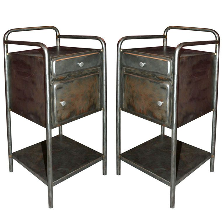 French industrial pair of bedside tables williamsburg waterfront french industrial - Mobili in stile francese ...