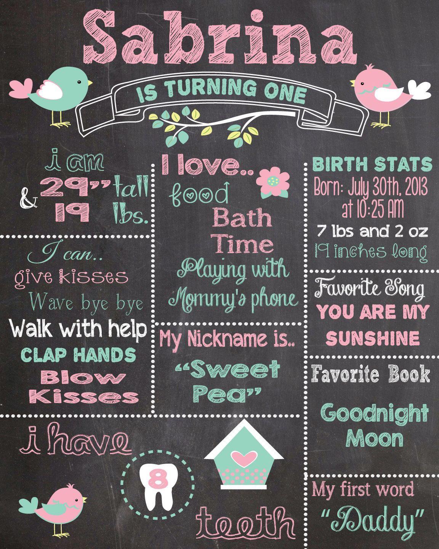 First Birthday Chalkboard Printable Poster bird theme Baby Girl
