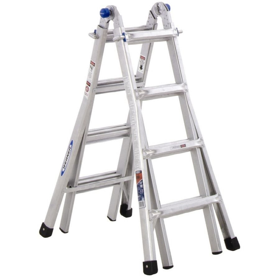 Werner 17 Ft Aluminum 300 Lb Telescoping Type Ia Multi Position Ladder Multi Ladder Telescopic Ladder Multi Purpose Ladder