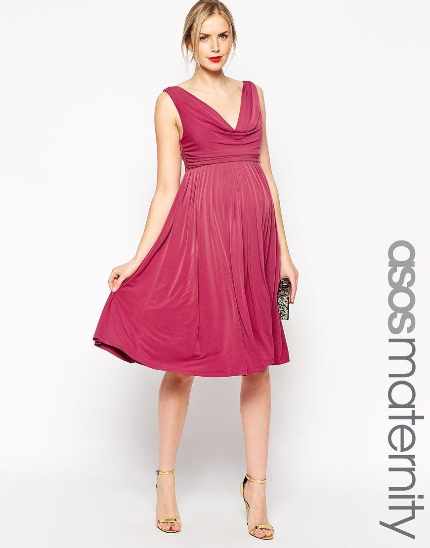 ASOS Maternity Pleated Midi Dress With Drape Cowl Neck | pregnancy ...