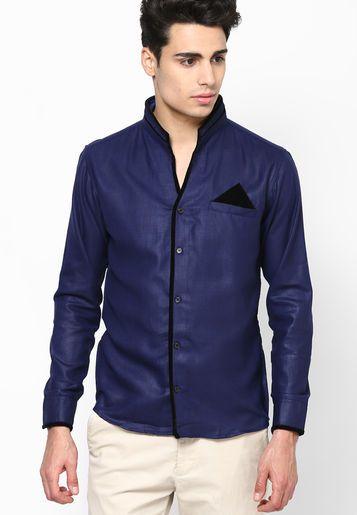DASTAK Blue Party Wear Shirt - Buy Men Clubwear Shirts Online ...