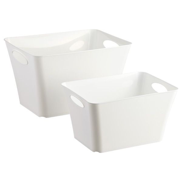 White Taper Storage Bins With Handles Storage Bins Organizing Bins Stackable Storage Bins