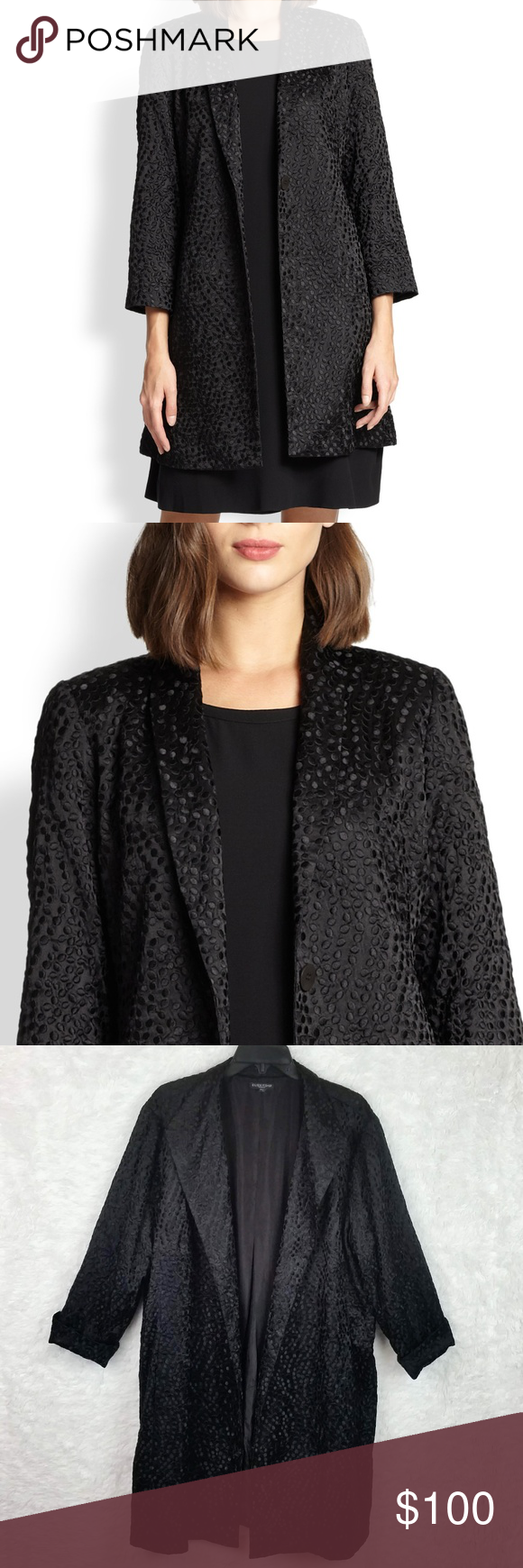 Eileen Fisher Silk Embroidered Dots 3 4 Long Coat Fashion Clothes Design Fashion Tips [ 1740 x 580 Pixel ]
