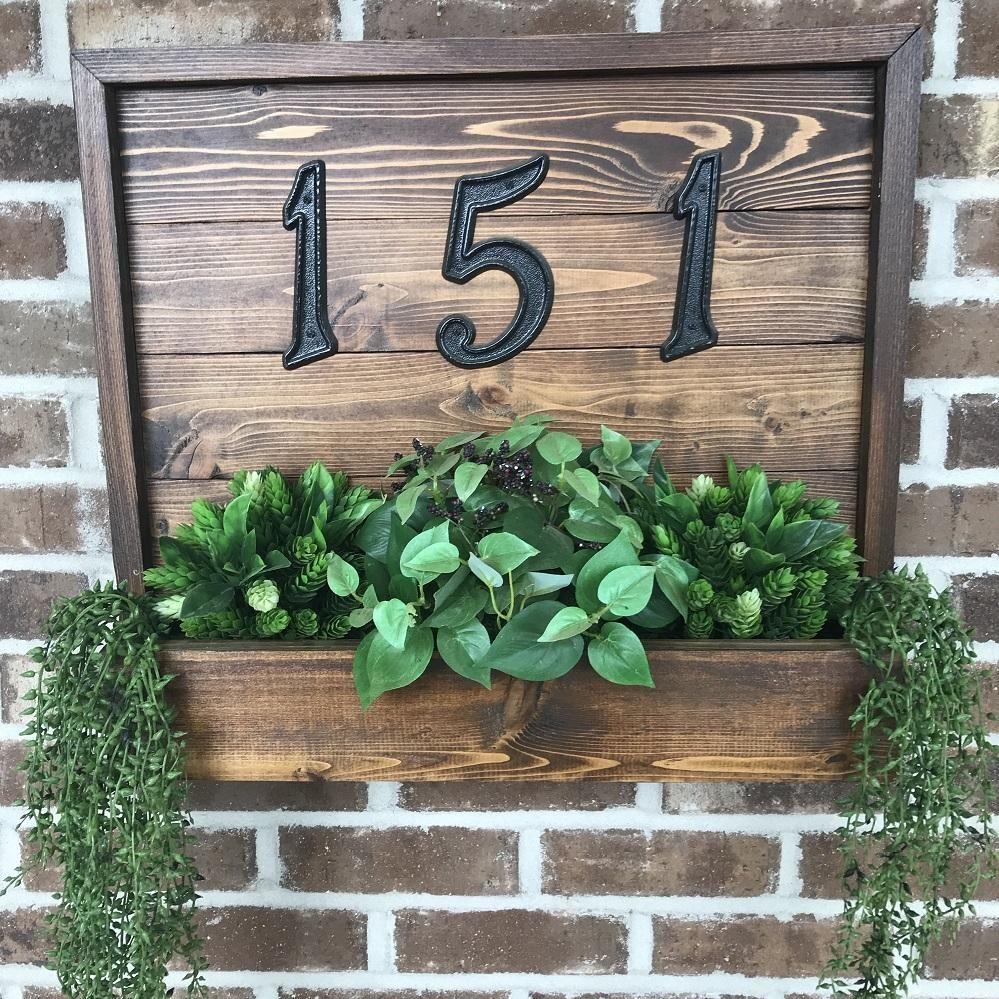 Cedar House Number Planter Plaque Sign House Numbers Diy Cedar