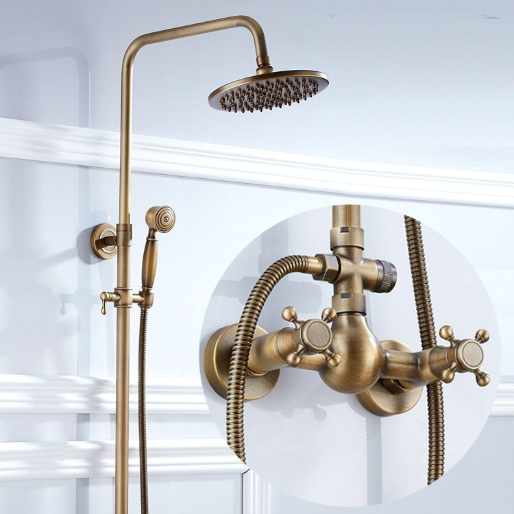 Bathroom Retro Antique Copper Brass Shower Set Wall Mounted Phone Ceramic Handheld Mixer Tap Faucet Shower Faucet Sets Shower Faucet Tub And Shower Faucets