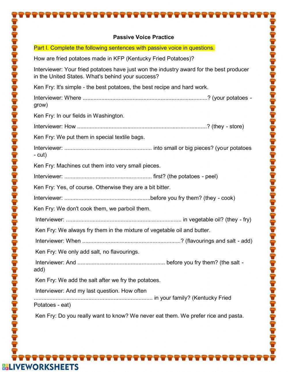 Passive Voice Simple Present And Simple Past Interactive Worksheet Active And Passive Voice The Voice Passive [ 1291 x 1000 Pixel ]