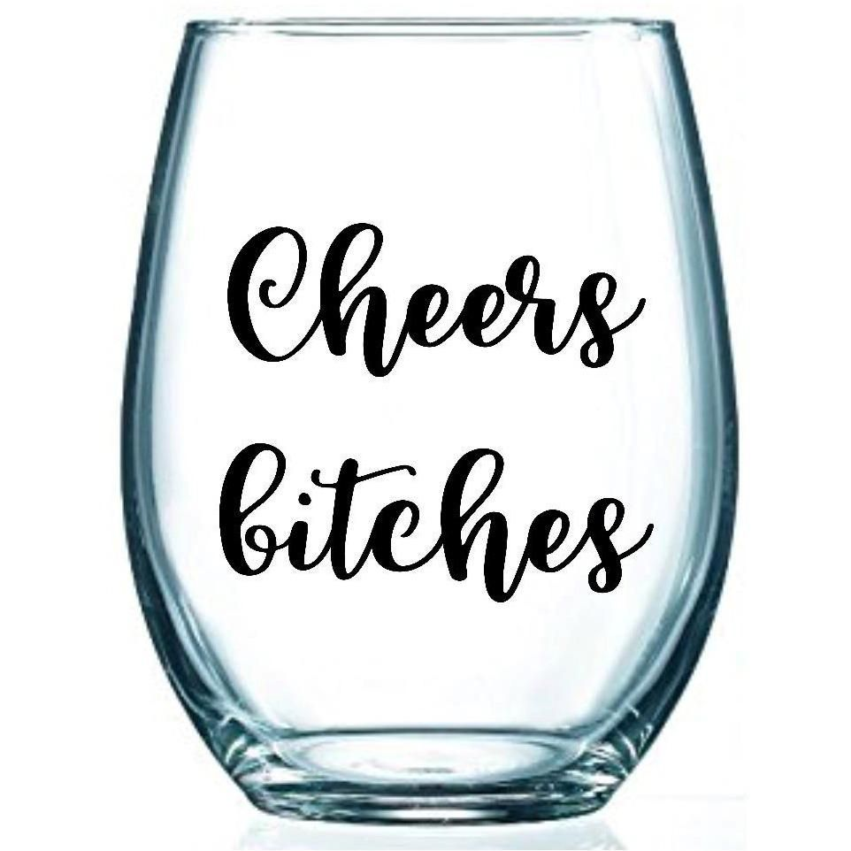 Cheers B Ches Custom Funny Saying Stemless Glass Wine Glass Sayings Decorated Wine Glasses Glass