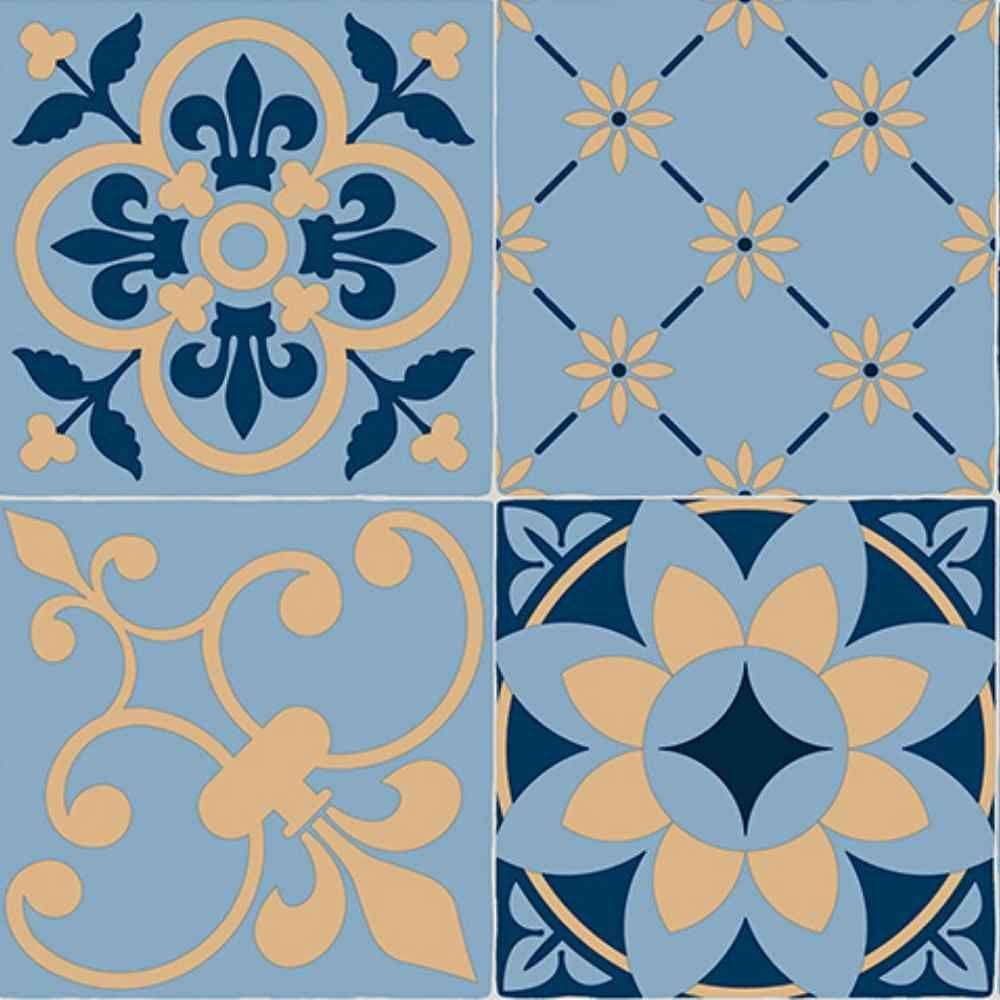 Floral Tile Effect Cushioned Sheet Vinyl Flooring Blue Kitchen Bathroom Lino Ebay Floral Tiles Vinyl Flooring Tile Effect Vinyl Flooring