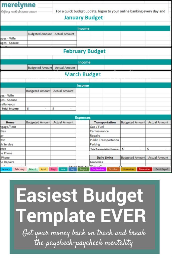 The Easiest To Use Budget Template EVER Budgeting Budgets