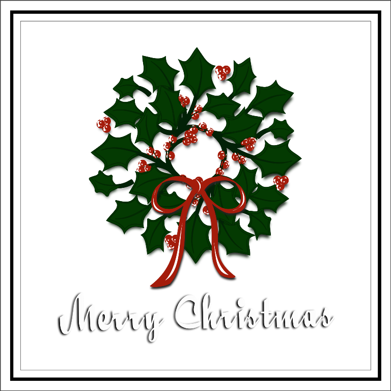 Inkscape Merry Christmas Wreath free SVG Svg free