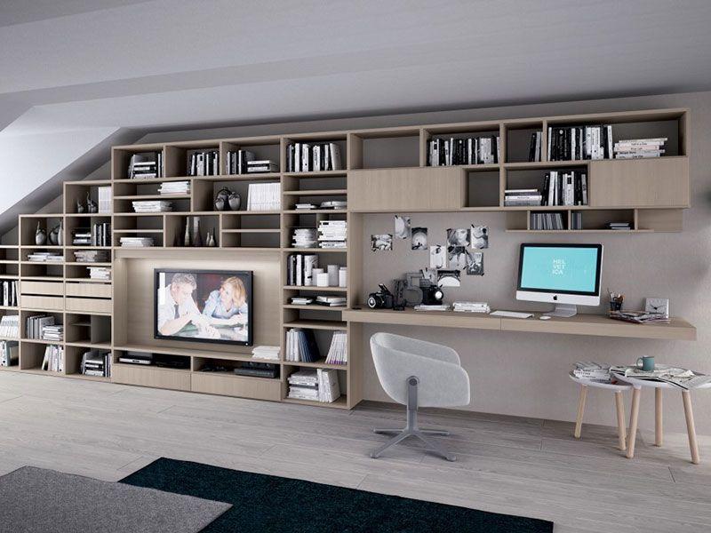 libreria scrivania soggiorno - Cerca con Google  Libreria  Pinterest  Tv c...