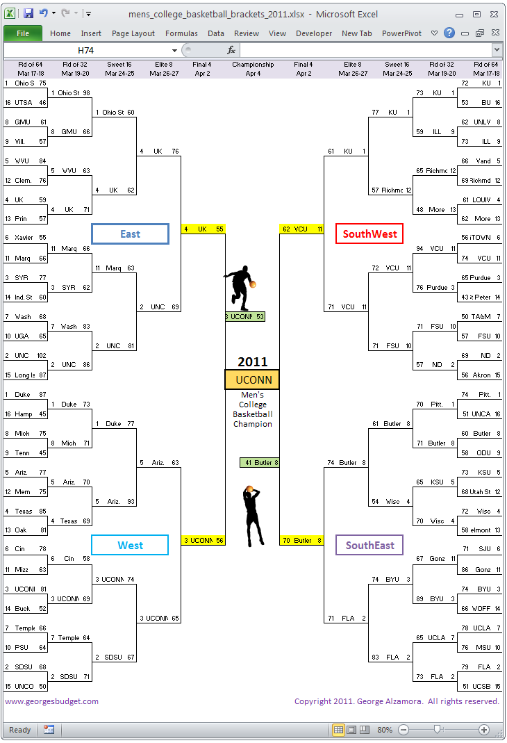 Mens College Basketball Tournament Brackets Excel Spreadsheet