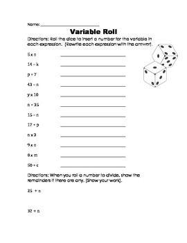 Variables Worksheet Game Worksheets Order Of Operations Variables