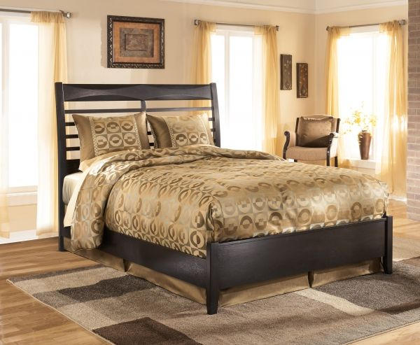 Kira Contemporary Black Solid Wood Platform Bed
