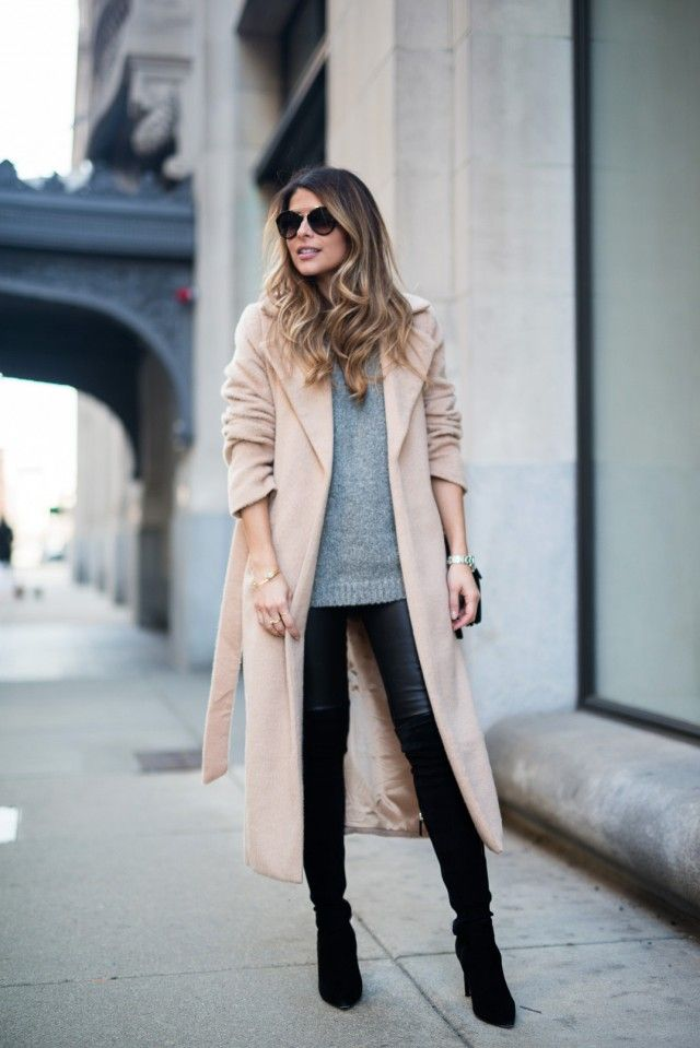2bc6bc0a756 Knee high boots and long cardigan coat trench coat